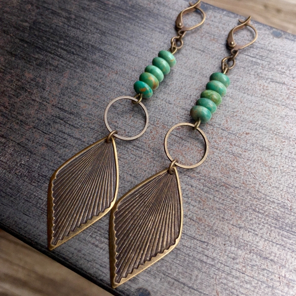Rides the Wind Earrings | Vintage Brass Leaf & Turquoise Dangle Earrings