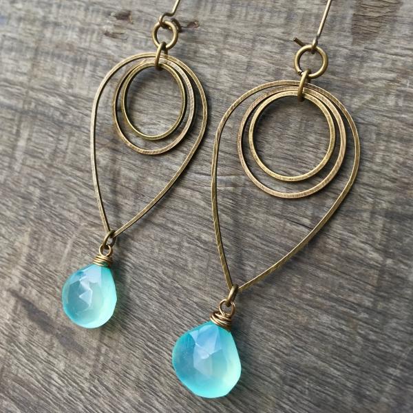 Drop of Rain Earrings | Aqua Blue Chalcedony & Brass Geometric Jewelry
