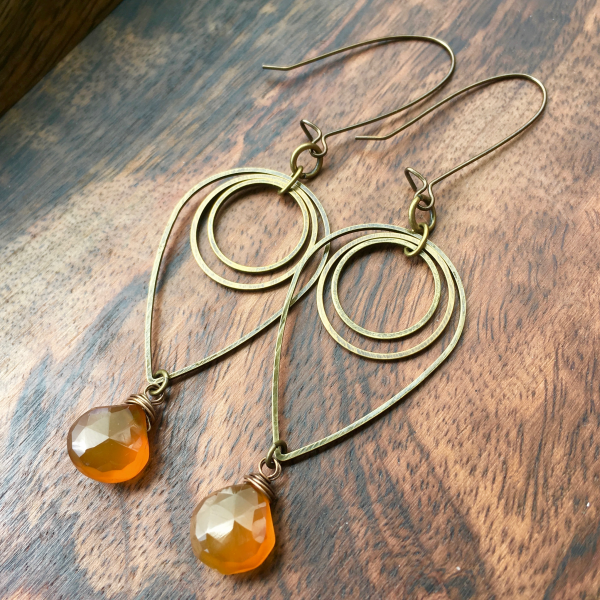 Liquid Sunshine Earrings | Amber Yellow Chalcedony & Brass Geometric Jewelry