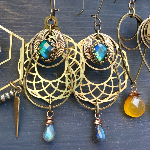 Winged Revolution Earrings | Geometric Jewelry | Blue Flash Labradorite | Scarab