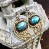Spiral Galaxy Earrings | Blue Labradorite & Brass Spiral Geometric Jewelry