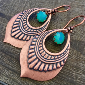 Lotus Petal Dew Earrings | Green Chalcedony | Copper Lotus Petal Earrings