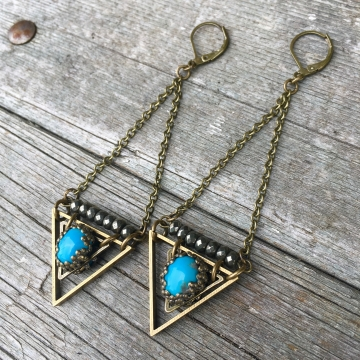 True Wisdom Earrings | Turquoise & Faceted Pyrite | Brass Triangle Drop Earrings