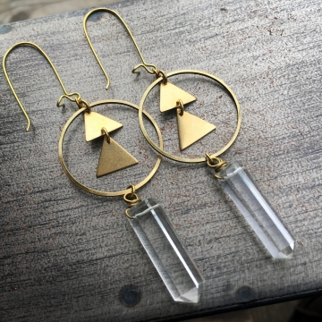 Bright Awakening Earrings | Quartz Crystal | Brass Triangle Hoop Drop Earrings