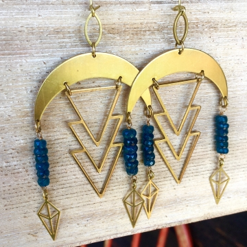Blue Star Rain Earrings | Neon Blue Apatite | Brass Geometrical RainDrop Earring