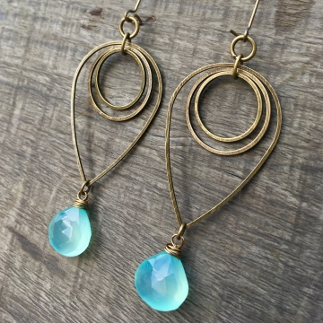 Drop of Rain Earrings | Aqua Blue Chalcedony & Brass Geometric Jewelry