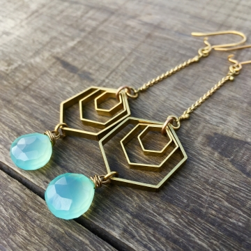 Spectral Sky Earrings |Aqua Blue Chalcedony | Brass Hexagon Dangle Drop Earrings