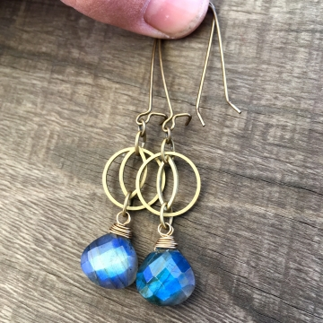 Blue Flash Earrings | Blue Labradorite | Geometric Brass Cat's Eye Earrings