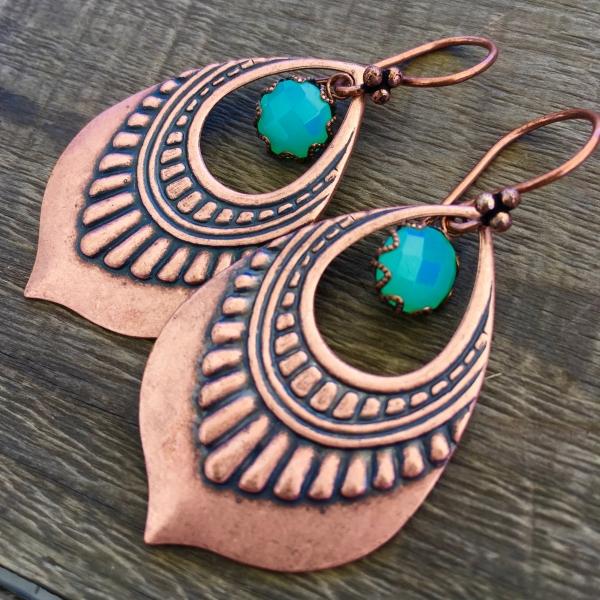 Lotus Petal Dew Earrings | Green Chalcedony | Copper Lotus Petal Earrings