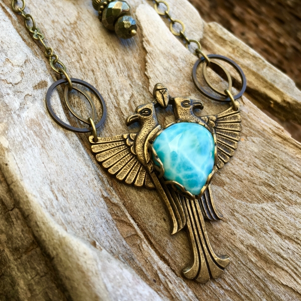 Sky Heart Necklace   Larimar   Brass Winged Falcon Necklace   Egyptian Jewelry