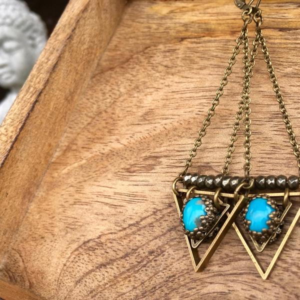 True Wisdom Earrings   Turquoise & Faceted Pyrite   Brass Triangle Drop Earrings