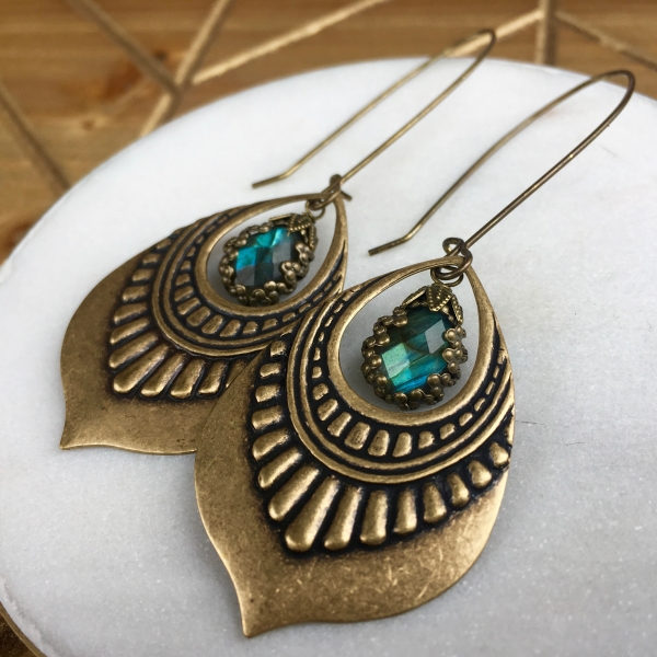 Lotus Drop Earrings | Blue Labradorite | Brass Lotus Petal Drop Earrings
