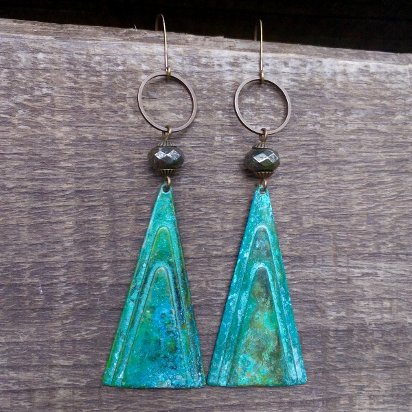 Mountain Alchemy Earrings | Faceted Pyrite | Brass Patina Triangle Drop Earrings