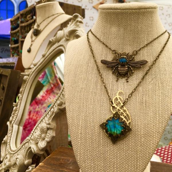 Queen Bee Necklace | Blue Labradorite & Vintage Brass Queen Bee Necklace