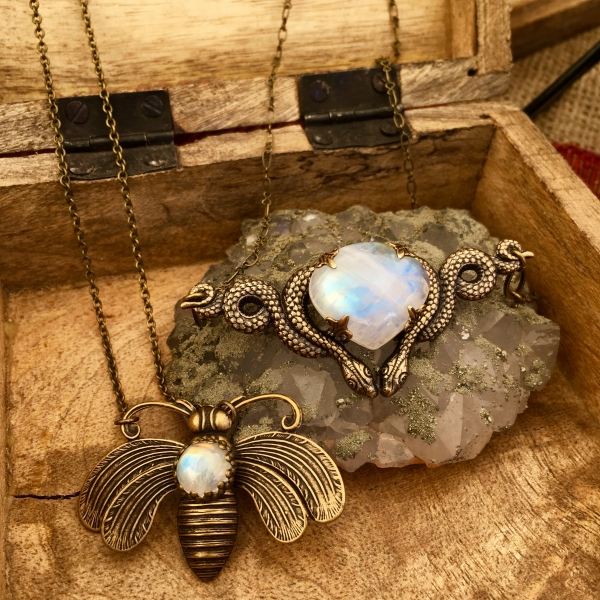 Cosmic Serpent Necklace | Rainbow Moonstone | Antiqued Brass Snake Necklace