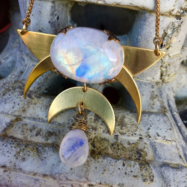 Over the Moon Necklace | Rainbow Moonstone | Brass Triple MoonDrop Necklace