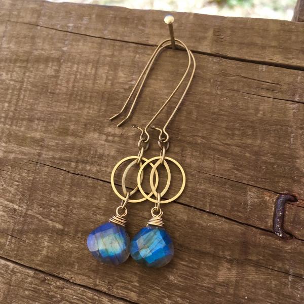 Blue Flash Earrings | Blue Labradorite | Geometric Brass Cat's Eye Earrings