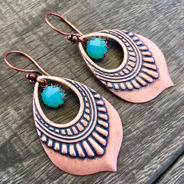 Copper Lotus Drop Earrings | Green Chalcedony | Copper Lotus Petal Earrings