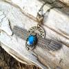 Shape Shifter Necklace | Blue Labradorite | Winged Scarab & Solar Disc Necklace