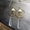 ng Earrings | Quartz Crystal | Brass Triangle Hoop Drop Earrings
