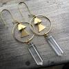 Bright Awakening Earrings | Quartz Crystal | Brass Triangle Hoop Drop Earrings