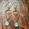 Drop of Rain Earrings   Aqua Blue Chalcedony & Brass Geometric Jewelry
