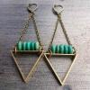 EarthLines Earrings   Sonoran Turquoise & Brass Triangle Drop Earrings