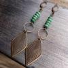 Rides the Wind Earrings   Vintage Brass Leaf & Turquoise Dangle Earrings