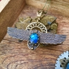 Shape Shifter Necklace| Blue Labradorite | Winged Scarab & Solar Disc Necklace