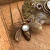 Bee Mystic Necklace   Rainbow Moonstone   Antiqued Art Deco Bee Necklace