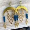 Blue Star Rain Earrings | Neon Blue Apatite | Brass Geometrical RainDrop Earring