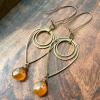 Liquid Sunshine Earrings | Amber Yellow Chalcedony & Brass Geometric Jewelry