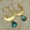 LUNAR ELLIPSE Earrings | Blue Labradorite & Brass Crescent Moon Drop Earrings