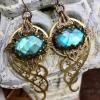 Spiral Galaxy Earrings   Blue Labradorite & Brass Spiral Geometric Jewelry