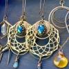 Winged Revolution Earrings | Geometric Jewelry | Blue Flash Labradorite | Scarab