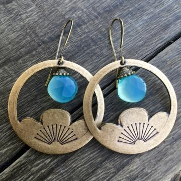 Blue Lotus Earrings | Aqua Blue Chalcedony | Brass Lotus Earrings | Art Deco