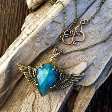 Winged Heart Necklace | Blue Labradorite & Vintage Brass Winged Heart Necklace