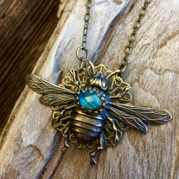 Queen Bee Necklace | Blue Labradorite & Vintage Brass Queen Bee Necklace