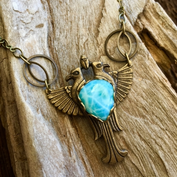 Sky Heart Necklace | Larimar | Brass Winged Falcon Necklace | Egyptian Jewelry