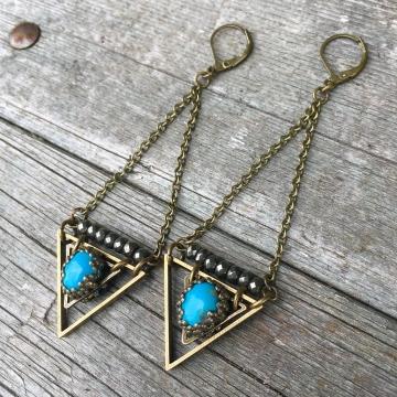 True Wisdom Earrings | Turquoise & Faceted Pyrite | Brass Triangle Drop Earrings