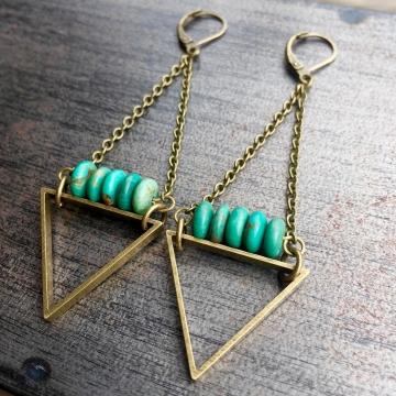 EarthLines Earrings | Sonoran Turquoise & Brass Triangle Drop Earrings