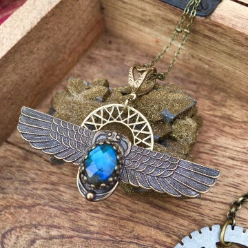 Shape Shifter Necklace | Blue Labradorite | Winged Scarab & Solar Disc Necklace