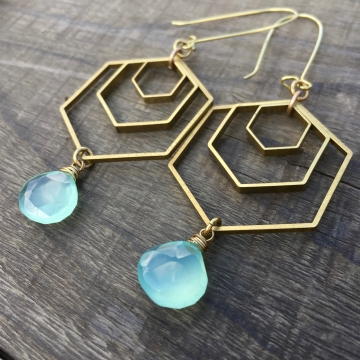 Geo Storm Earrings | Aqua Blue Chalcedony & Brass Hexagon Drop Earrings