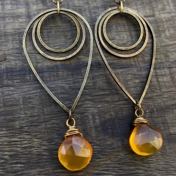 Liquid Sunshine Earrings   Amber Yellow Chalcedony & Brass Geometric Jewelry