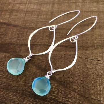 Aqua Sparkle Earrings | Aqua Blue Chalcedony | Sterling Silver Drop Earrings