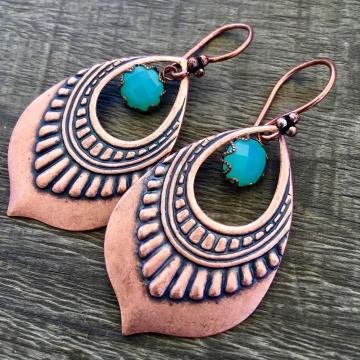 Copper Lotus Drop Earrings   Green Chalcedony   Copper Lotus Petal Earrings
