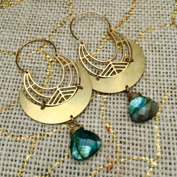 LUNAR ELLIPSE Earrings | Blue Labradorite & Brass Crescent Moon Drop Earrings