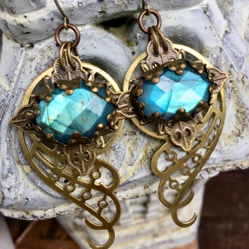 Spiral Galaxy Earrings | Blue Labradorite & Brass Spiral Geometric Jewelry
